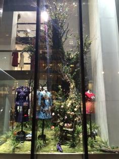 La moda florece en esta vitrina.